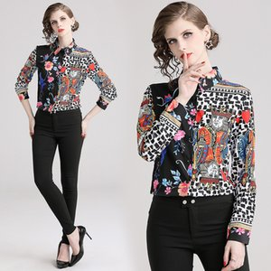New Arrival 2020 Spring Summer Fall Runway Chic Barqoue Floral Print Collar Casual Office Ladies' Button Front Long Sleeve Tops Shirt Blouse