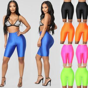 Frauen Short Leggings Biker Shorts Dance Workout Yoga Pants Shinning festes dünnes Training Laufen Übung Shorts Neue