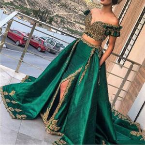 Hint avcısı Yeşil 2 Parça Altın Dantel Aplike ile Abiye Balo Abiye Seksi Suudi Arapça Boncuklu Kaftan abaya Giymek