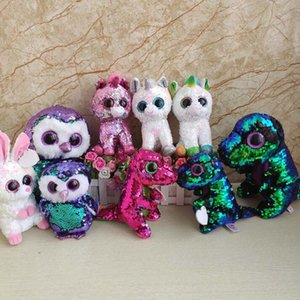 Ty Beanie Boos Big Eyes Sequins Rabbit y Unicorn Stuffed Animals Plush Doll Kids Toys Stuffed Doll KKA6596