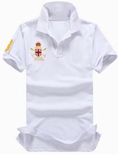 Polo Team Great Britain Flag Polo Uomo Estate casuale Camisa cotone solido Stile European Business Polo Bianco Rosso