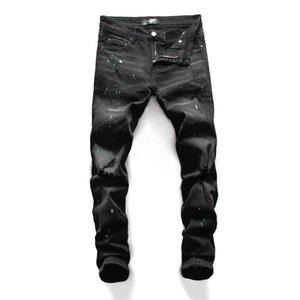 2020 New Fashion Men Blue Bleach Jeans Tidy Biker Denim Jean Paint Spot Damage Slim Fit motorcycle mens slim fit jeans