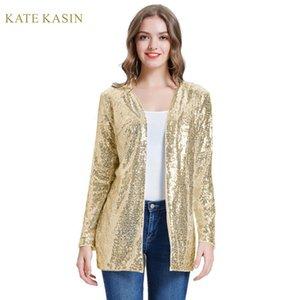Donne Sparkle Sequin del rivestimento del cappotto Stunning manica lunga anteriore aperto cardigan Outwear Sequins di modo Streetwear