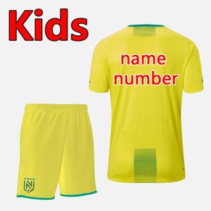 Calidad tailandesa versión 19 20 FC Nantes fútbol de los cabritos cabritos de los sistemas Kit establece FC Nantes muchachos camiseta de fútbol uniformes FC Nantes equipos de fútbol juvenil
