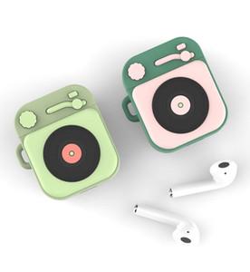Gramophone Cartoon-Kopfhörer-Kasten Lade Stoß- Kopfhörer-Abdeckung für Apple Airpods1 2 mit Ring-Wölbungs-Halter