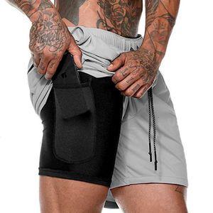 Şort Güvenlik Running in 1 Erkek 2 Boş Şort Hızlı Kurutma Spor Şort Dahili Cepler Kalça Hiden Fermuar Cepler Pockets