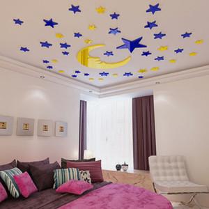 Wall estrella de la luna de cristal acrílico 3D Etiqueta Cuarto de niños engomada de la decoración