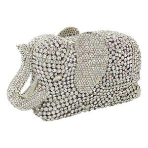 Mujeres de plata de cristal del embrague del elefante embragues de noche bolsos de metal Minaudiere bolsos embrague nupcial banquete de boda bolso de hombro