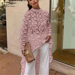 Bonnie Forest 2019 Printemps Nouveau T-shirt À Manches Longues En Dentelle Au Crochet Tops Femmes Mode Haut Faible Asymétrique Irrégulier Hem Chemise Chemise Robe Y190423
