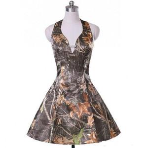 저렴한 짧은 Camo 들러리 파티 드레스 홀터넥 넥 라인 맞춤 웨딩 게스트 드레스 정장 가운