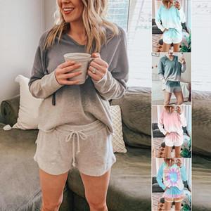 2020 женщина лето новый комплект пижамы галстук-краситель градиент печати из двух частей брюки с длинным рукавом топ сексуальные шорты полиэстер дамы спортивный костюм