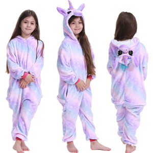 4 цвета фланель мультфильм пижама Комбинезон Радуга Толстовки ползунков мантий Дети Nightgowns дети Пижама одежды M2053