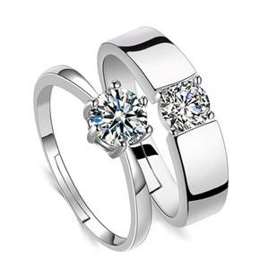 Cubic Zirconia anel aberto ajustável de noivado de diamante anel de casamento de prata casal Mulheres Homens Anéis amo moda jóias com Will e Sandy nova