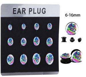Mix 6 tailles 5 cartes à filetage interne Bouchons d 'extension pour oreille Kit Vis Vis Chair chair Jauge Boucle d' oreille Stretchering Body Piercing