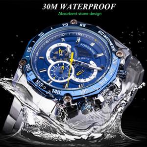 de Six Needle Homens mecânico automático impermeável três olhos Hot Relógio Aço Assistir Belt Relógio de pulso Relógio Design Presente retro # 8