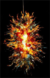 Forma cadeia de flores coloridas Murano Art Glass Chandelier Dale Chihuly Style Hotel Decor Glass Chandelier Luz