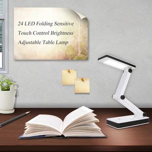 Katlama LED Masa Masa Lambası Dokunmatik Kontrol Kitabı Işıklar Öğrenciler Okuma Çalışma odası Odası için Kitap Okuma Night Lights 24LEDs Standı