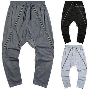 New Style Hip Hop Calças machos soltas Casual Pant adolescentes Sports Zipper Harem Pants Mens Designer de Moda Hetero
