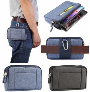 Men Casual Durable Fanny Waist Pack Waist Bags Belt Canvas New Hip Bum Military Bag Pouch Three Zipper Pockets