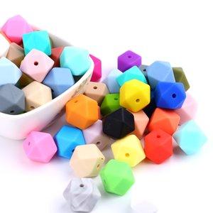 Baby Pieces 14mm Doccia Branelli in silicone Perle Dentizione Giocattolo Seghetto Collana Catena Baby Catena Hexagon REGALO ACQUA DIY 100 VNGWI