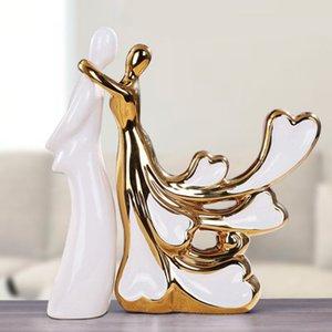 2019 2pcs / set Europa Beauty cerâmica Figurines Home Furnishing Artesanato Decoração Ouro e de Prata Porcelana artesanato dom cerâmica
