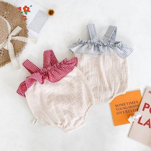 2020 new baby girls patchwork romper fashion summer cotton linen babys jumpsuit 6-24 month HV433