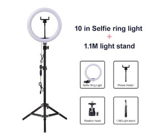 la lámpara del anillo de vídeo USB luz regulable LED selfie anillo de luz ligera de la fotografía con soporte para teléfono 2M soporte del trípode para el maquillaje de Youtube