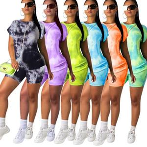 Sommer-Frauen Kleidung Zwei Stück Outfits setzen beiläufige Anzug Tie-Dye Kurzarm-Schwarz-T-Shirt Biker Shorts Anzug Sportbekleidung in Übergröße
