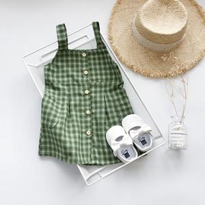 Gril Yaz Tasarımcı Ekose Elbise 2019 Marka Çocuk Giyim Kız Rahat Askı Ekose Elbise Düğmesi ile Yaz Lüks Moda Etekler