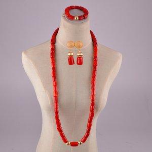 joyas de coral rojo natural configurado cuentas de coral boda africano Nigeria cuentas de coral sistemas de la joyería para hombres y mujeres T200507