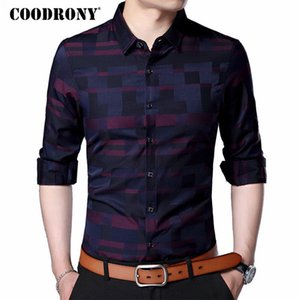 Coodrony Männer Hemd Mens Business Casual Shirts Ankunft Männer Berühmte Marke Kleidung Plaid Langarm Camisa Masculina 712 C19041702