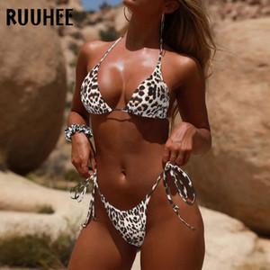 RUUHEE Bikini-gesetzten Frauen Dye Tie Push Up Micro Bikini 2020 Leopard-Badeanzug-reizvolle Badebekleidung weibliche Halter brasilianischen Badeanzug