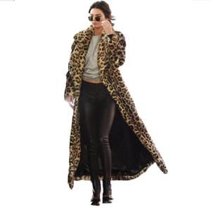 Abrigo largo de piel de invierno de moda Leopard Women Show Spots Loose Warm Sexy Casual Women Leopard Outerwear Manteau Thick Faux Fur Coat