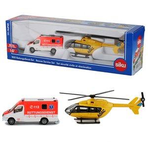 SIKU 1:87 구급차 서비스 장난감 구급차 헬리콥터 모델 구조 팀 항공기 일반화물 자동차 모델 장난감 어린이 컬렉션 T200727