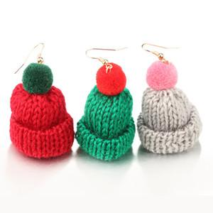 Poco pendiente tejidos a mano de la Navidad de moda pendientes casquillos del algodón del oído del perno prisionero de las mujeres de Corea del pelo del sombrero de la bola larga de punto de lana pendientes joyería