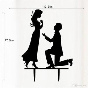 Hot forme de gâteau de mariage Mr Mrs Love Acrylique noir Toppers Romantique Epoux Pour mariage Décoration de fête Mariage Favors