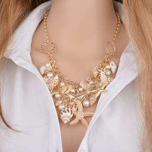 Shell Necklace Choker Mermaid Tail Necklace - Fashion Sea Shell Starfish Faux Pearl Collar Bib Statement Chunky Necklace Pendant