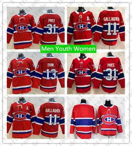 Niños Jersey de hockey Montreal Canadiens Youth 13 Max Domi 31 Carey Price Jersey Hombre Mujer 11 Brendan Gallagher Hockey sobre hielo Jerseys en blanco Rojo