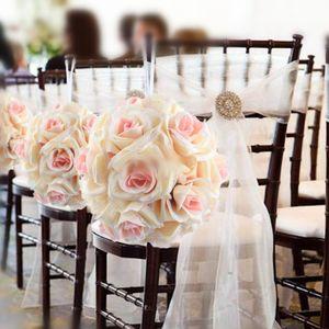 Élégant blanc artificiel Rose Soie Fleur Boule Hanging Balles Embrasser 18cm balle 7inch pour le mariage Party Decoration Supplies1A