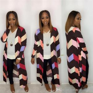 Womens mulit colores a rayas con paneles diseñador de moda las chaquetas larga floja para mujer Cardigan Abrigos Ropa Casual hembras