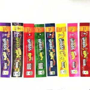 hot Lila Nerds Seil Leere Verpackungen bas Nerds Seil Süßigkeit Nerdsrope Gummy Taschen Drei Rand Siegelbeutelfolie edibles Lebensmittelverpackungen