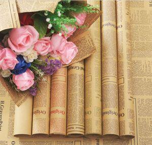 papel Kraft jornal Inglês Flower Wrapping Paper Bouquet Flower Waterproof Packing Paper Bouquet Flower Valentine Wedding Gift Wrap Decor