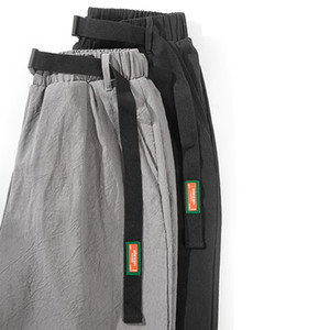 높은 품질 스웨트 팬츠 높은 와싯 봄 여름 패션 포켓 남성 슬림 맞춤 격자 무늬 직선 다리 바지 캐주얼 연필 조깅 캐주얼 바지