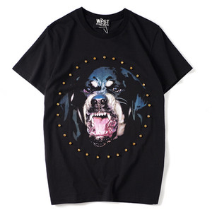 Mens Designer T Shirts Fashion Casual Short-sleeved Crew Neck Loose Cotton Rhinestone dog head rottweiler Printing