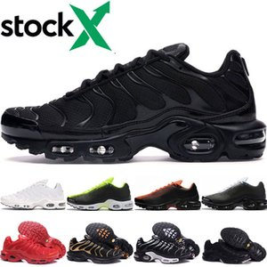 nike air max tn shoes Atacado Tn Mens Women Running Shoes Preto barato Triplo Vermelho Branco TN e Esportes Ultra Sapatos TN azul Volt pulverizador Sneakers pintura desenhador