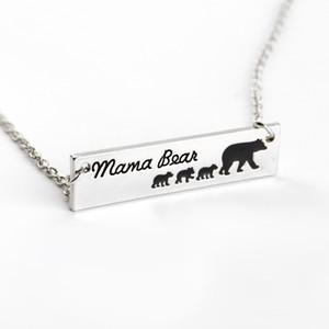 6 Tipo Urso Mama Urso do bebê Colares do esmalte prata Bar Pendant Moda Mãe e Filha presente Jóias Filho