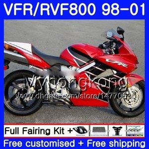 Cuerpo para HONDA 1998 VFR800R 800 98 99 00 caliente 259HM.10 Rojo VFR 1999 2000 01 2001 RR fábrica VFR800RR Interceptor 800RR VFR VFR800 Fairin Qbed
