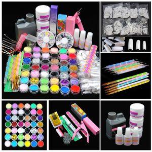 Pro Acrílico Poder Manicure Prego Kit Acrílico Dicas cortador Glitter Rhinestones Arquivo Escova Manicure Nail Art Tool Set Kit Gel