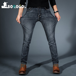 SOQOOOL Männer Midweigth Stretch Spandex Denim Slim Fit Jeans-Hosen für Geschäftsmann Jean-Farben blau und schwarz