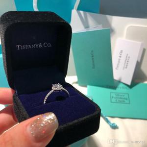 브랜드 원래 상자 TIF T 다이아몬드 반지를 두 번 T 럭셔리 디자이너 쥬얼리 여성 925 스털링 실버 반지 결혼 다이아몬드 반지 bague 담